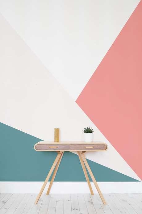 17. Papel de parede rosa e turquesa – Foto Murals Wall Paper