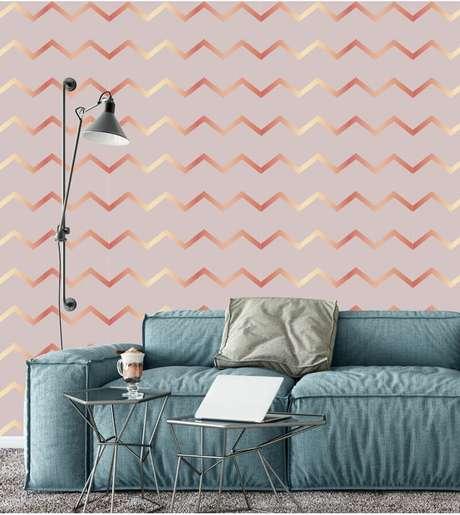 36. Sala cinza com papel de parede rose gold – Foto Papel de parede