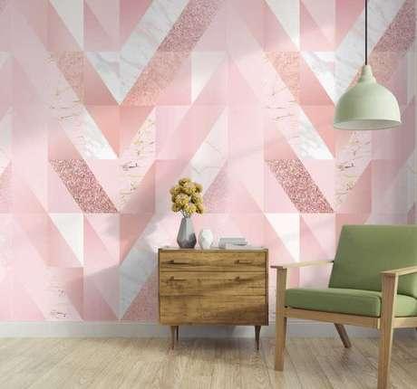 21. Papel de parede rosa geométrico e branco – Foto Tenstickers