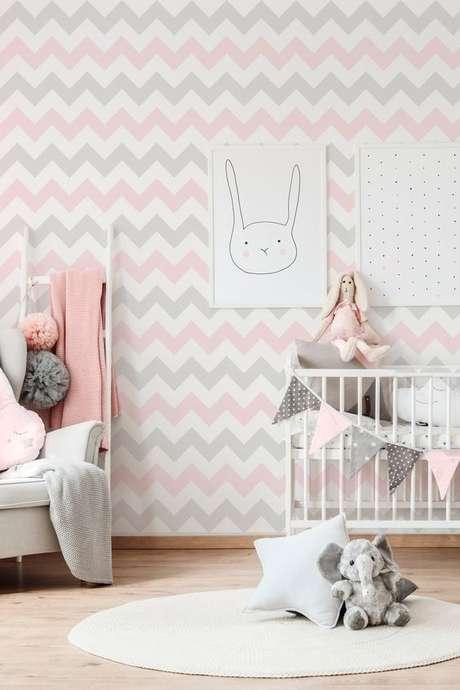 59. Papel de parede rosa e cinza geométrico – Foto Papel Decor
