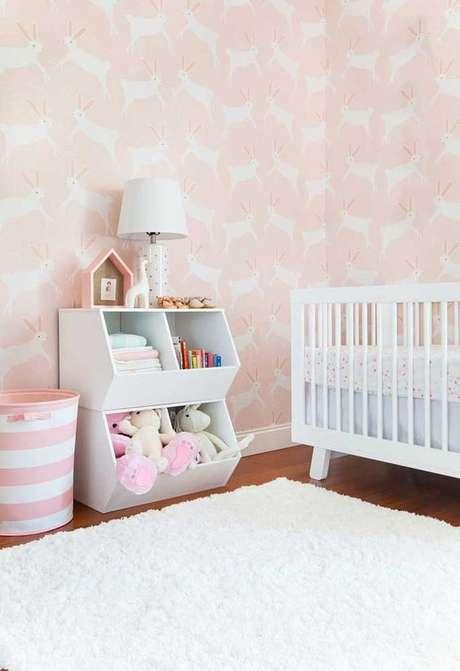 28. Papel de parede rosa para quarto infantil – Foto Decor Facil