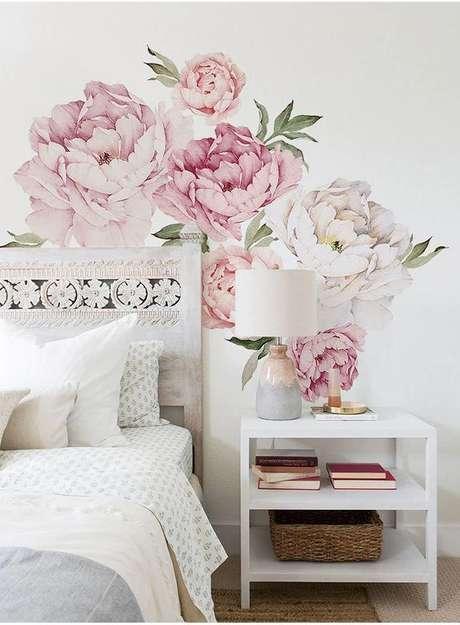 6. Papel de parede rosa floral no quarto moderno – Foto AliExpress