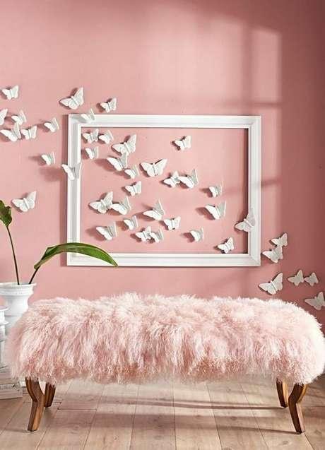 7. Papel de parede rosa antigo para sala – Foto The Art in Life