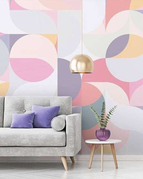 16. Papel de parede rosa e lilás geométrico – Foto MdeMulher