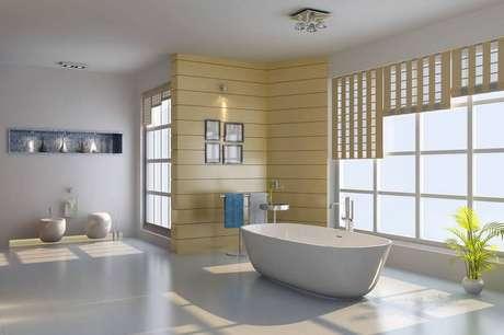 16. O piso de cerâmica pode ter menos brilho e deixar o banheiro mais clássico.