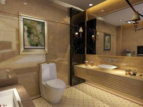 20. As cerâmicas do tipo ladrilho compõem um banheiro gracioso.