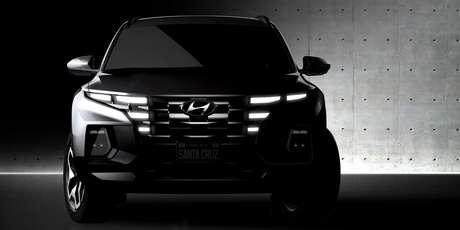 Grade dianteira da picape Santa Cruz traz a nova linguagem visual da Hyundai.
