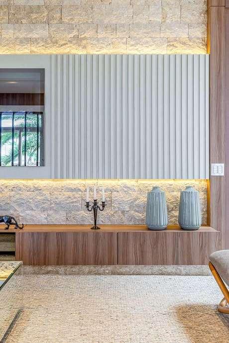 24. Revestimento bege para sala de estar Foto RP Guimaraes