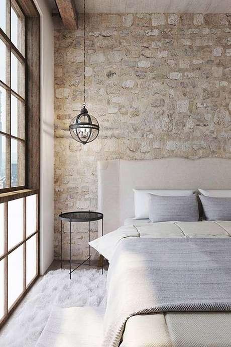 22. Revestimento bege para quarto moderno – Foto Decor Facil