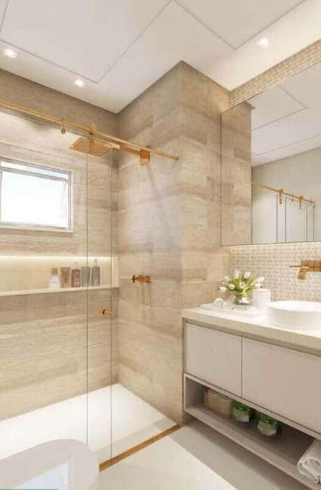 2. Banheiro com revestimento bege de porcelanato Foto Pinteret