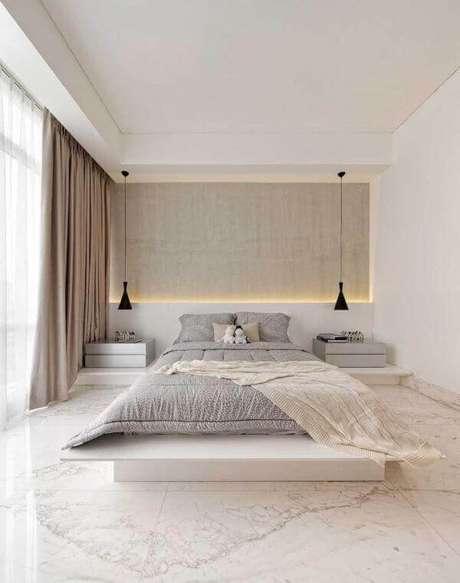 59. Quarto com piso revestimento marmorizado – Foto Revista VD