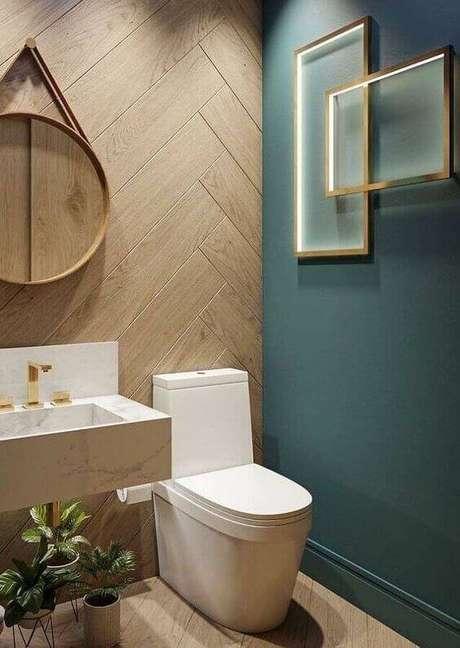 28. Banheiro amadeirado e verde moderno – Foto Pinterest