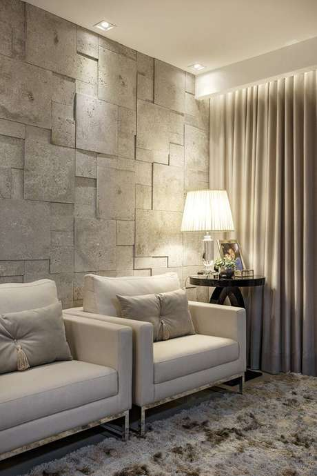 67. Revestimento bege 3D para sala de estar chique – Foto Arkpad
