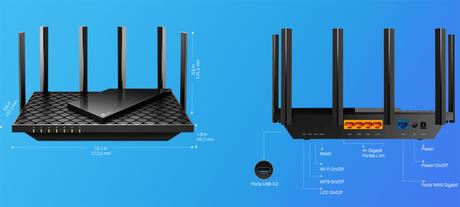 TP-Link Archer AX73 tem porta USB, 4 LAN e 1 WAN no padrão Gigabit