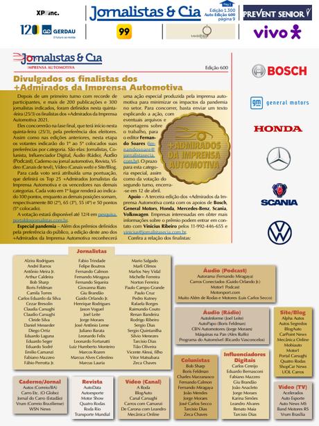 Jornalistas & Cia é um boletim eletrônico semanal que cobre todos os fatos do setor. Votação dos +Admirados da Mídia Automotiva vai até o dia 12 de abril.