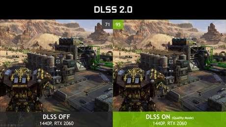 Demonstração de jogo com DLSS 2.0 desligado (esq.) e ligado (