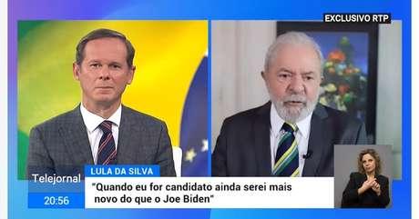 O apresentador José Rodrigues dos Santos e Lula no 'Telejornal': dados prévios apontam audiência de 1 milhão de pessoas, índice positivo para os padrões da televisão portuguesa