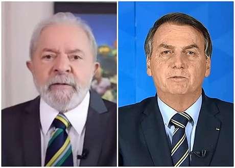 Lula no 'Telejornal' e Bolsonaro em um pronunciamento de 2020: gravatas parecidas em alusão à bandeira brasileira