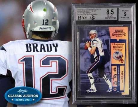 Card 'Playoff Contenders' autografado por Tom Brady da temporada de 2000 da NFL foi vendida por valor recorde (Reprodução / Twitter Lelands Auctions)