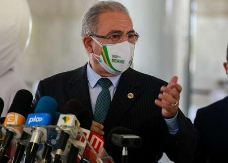 O Ministro da Saúde Marcelo Queiroga durante entrevista no Palácio do Planalto