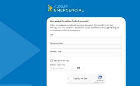 Portal de consultado Auxílio Emergencial