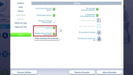 Configurações de The Sims 4 no PC