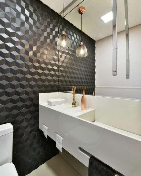 40. Azulejo 3D preto para banheiro e lavabo – Foto pinterest