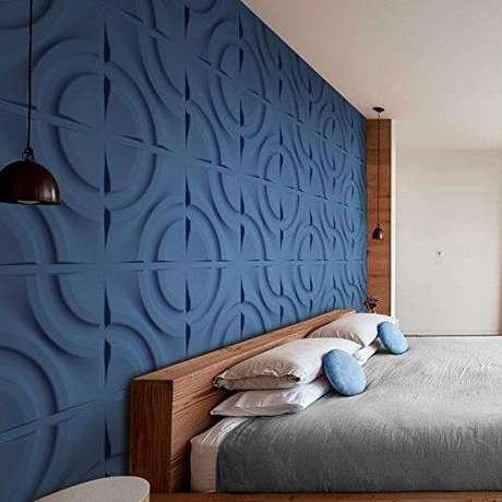 7. Revestimento 3D azul para quarto moderno – Foto Arkpad