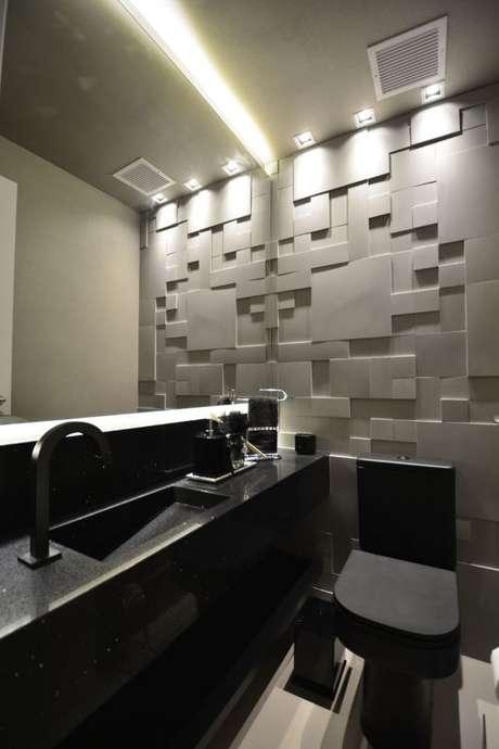 48. Banheiro com azulejo 3D cinza moderno – Foto Pinterest