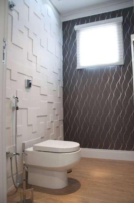 43. Banheiro com azulejo 3D branco – Foto Tudo Especial