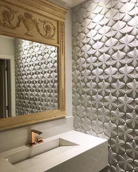 28. Azulejo 3D branco para banheiro – Foto Pinterest