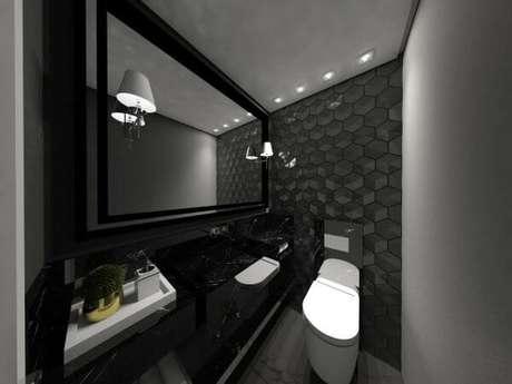 44. Banheiro com azulejo 3D cinza – Foto Pinterest