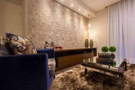 64. Sala moderna com azulejo 3D branco – Foto Pinterest