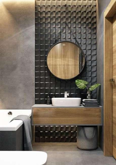 12. Azulejo 3D preto para banheiro com banheira branca – Foto Dekorations Haus