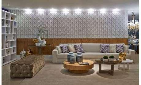 60. Sala com azulejo 3D chique Foto decoração de interiores – Foto Pinterest