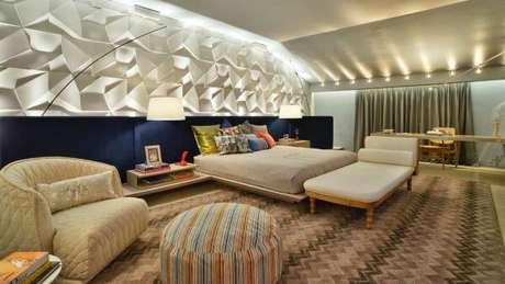 2. Azulejo 3D para quarto branco – Foto Pinterest