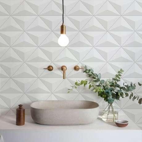 4. Azulejo 3D branco em triangulo para banheiro moderno – Foto Grudado