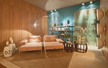 25. Azulejo 3D azul para sala de estar moderna e confortável – Foto Pinterest