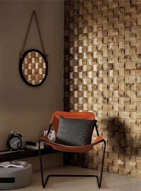 56. Azulejo 3D de madeira para sala de estar – Foto Pinterest