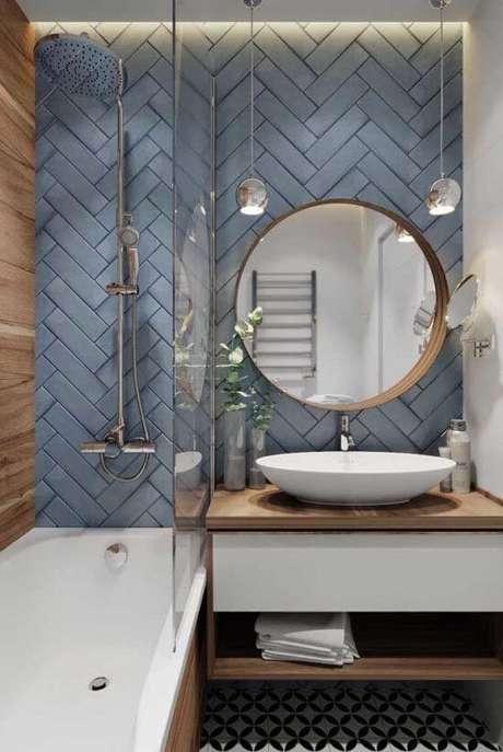 24. Azulejo 3D azul para banheiro moderno – Foto Pinterest