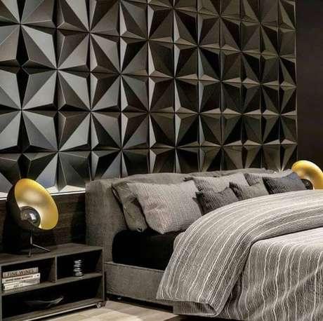 53. Quarto com azulejo 3D preto – Foto Pinterest