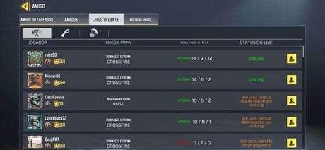 É possível buscar os últimos jogadores de sua equipe