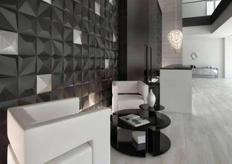 32. Azulejo 3D cinza e branco – Foto Pinterest