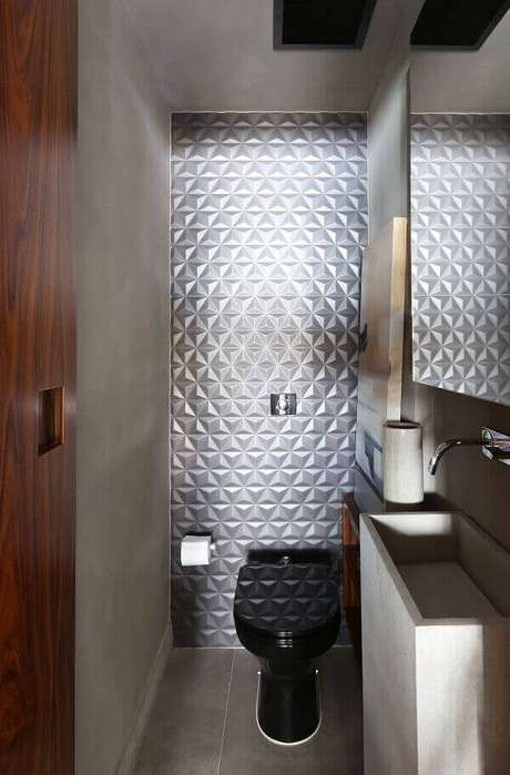57. Lavabo com azulejo 3d prateado – Foto: Quattrino Arquitetura
