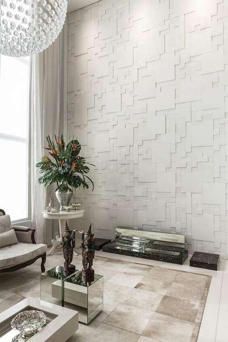 59. Sala com azulejo 3D branco Foto Castelatto
