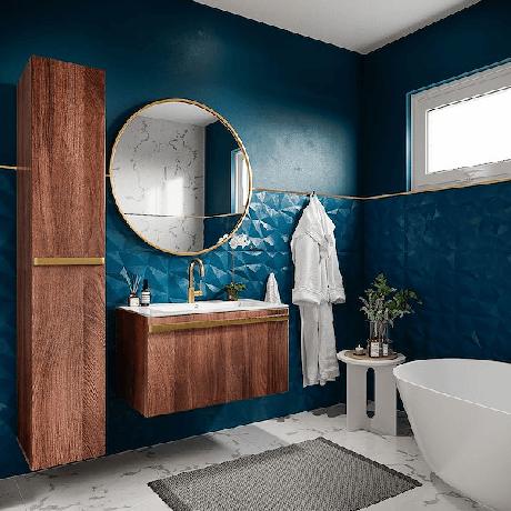 1. Azulejo 3D azul com armários de madeira – Foto Pinterest