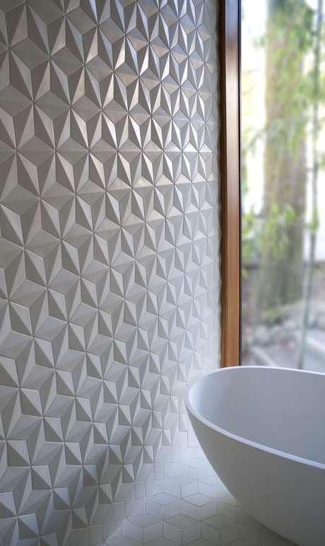 47. Banheiro com azulejo branco 3D em formato de estrela – Foto Pinterest