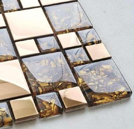 36. Azulejo 3D dourado e marrom – Foto Etsy