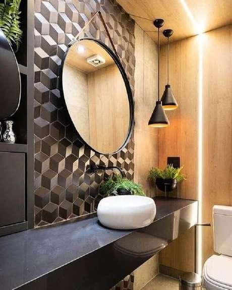 22. Lavabo com azulejo 3D preto – Foto Jeito de Casa