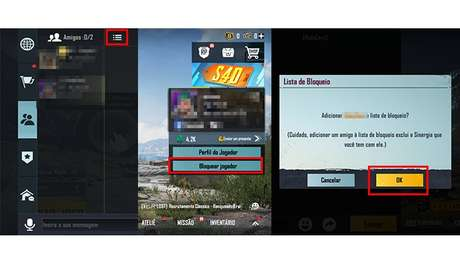 Processo para bloquear jogadores no PUBG Mobile